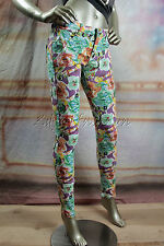 New MINK PINK Floral Art Stretchy Skinny Low Rise Capris Crop Pants XS