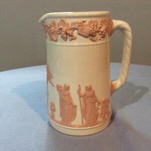 """Wedgwood embossed Queensware pink on cream 5 1/2"""" upright rope handled jug"""