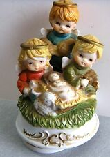 Vintage Bisque Porcelain Price Bellmaw R Nj Nativity Music Box Plays Christmas