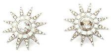 Zest Star Burst Earrings with Clear & Moonstone Swarovski Crystals -Pierced Ears
