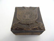 Antique Seal Stamp Wooden Block Wood Metal Copper Foresters of America Used Old