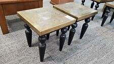 Moroccan Artisan-Gold Metal & Black Wood Large Side Tables /Lamp Tables