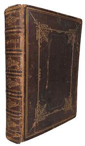 1874, Sacra Bibbia, Vecchio E Nuovo Testaments, Bella Antico Pelle Rilegatura,