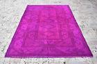 "Turkish Rug 66""x93"" Hand Woven 5x7 Fuchsia Overdyed Anatolian Carpet 168x238cm"