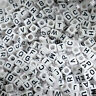100 to 500 White Alphabet Cube Beads -  Mixed Letters 6mm