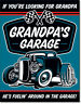 Grandpa Garage Metal Tin Sign Hot Rod Auto Shop Cave Picture Wall Decor Gift