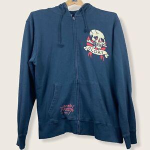 Ed Hardy Zip Up Jacket Size Large Black Graphic Skull Y2K