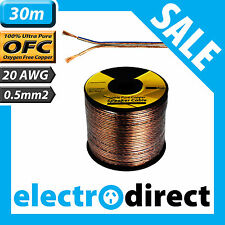 30m 20AWG (0.5mm2) Speaker Cable Reel 100% Pure Copper OFC - 20 Guage Wire Roll