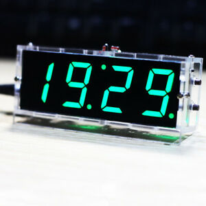 4-digit DIY Digital LED Clock Kit Light Control Temperature Date Time F9Z5