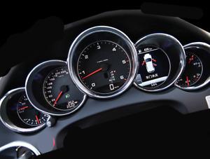 for Porsche Cayenne 2011 - 2016 Silver Matt Dashboard Meter Ring Cover Trim 5pcs