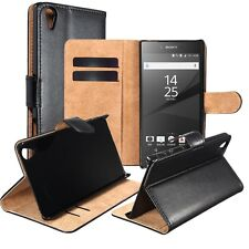 Genuine Leather Wallet Stand Case Cover for Sony Xperia Experia Z5