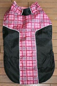 Unbranded Pink & Black Plaid Designed Dog Jack Fleece Lined Size XL