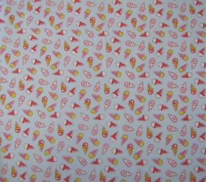 Premier Polycotton fabric Ice cream Blue Quilting patchwork bunting craft fabric