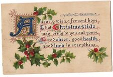 CHRISTMASTIDE Fervent Hope CHRISTMAS Sprigs of Holly Postcard Embossed