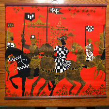 """Tibor Reich Textile Wall Hanging, Brown, Red and Black 24"""" x 23"""""""