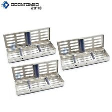 3 Trays STERILIZATION Tray Sterile Dental Instruments Cassettes, Small Parts