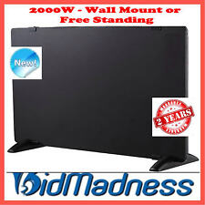 NEW SLIMLINE BLACK GLASS 2000W CONVECTION PANEL HEATER THERMOSTAT WALL MOUNTABLE