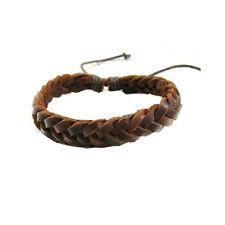 Bracelet homme femme Tresse plate Cuir marron basique Classique Élégant Ethnique