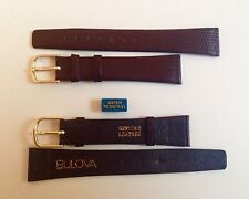 Bulova Cinturino Vintage 18 mm Marrone NOS Watch Band Pelle Lucertola Lizard
