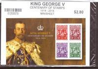 AUSTRALIA, KING GEORGE V CENTENARY OF STAMPS, MIN SHEET, MNH