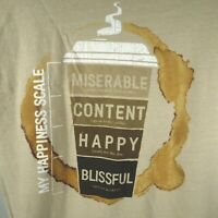 Coffee T-Shirt Crazy Shirt Kona Coffee Dyed Sz M Happiness Scale NEW