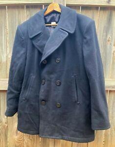 US Navy USN Issue Wool Pea Coat Jacket Mens 44 Regular