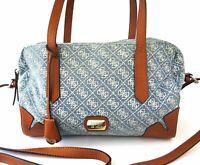 Guess Tasche Damen Umhängetasche Jeans blau weiss braun Logoprint + Staubbeutel