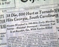 ROYSTON GA Gainesville Georgia Greenwood SC TORNADOES Disaster 1944 Newspaper