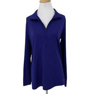 Under Armour Loose Running Shirt Women's Size L Deep Blue 1/2 Zip Pullover Top