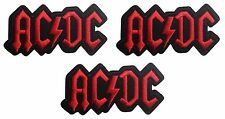 """ACDC Red on Black Logo 3 1/2"""" Wide Embroidered Iron On Patch Set of 3 Patches"""