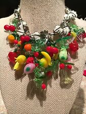 "Vintage MURANO Glass Fruit Salad Necklace 17"" Long Sarah Coventry Grapevine OOAK"