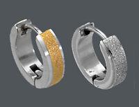 EDELSTAHL *** 2 x Herren Single- Ohrring Creole strukturiert vergoldet 13,5 mm
