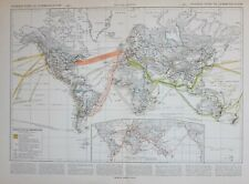 1913 MAP THE WORLD COMMUNICATIONS TELEGRAPHIC NETWORK ROUTES PACIFIC ATLANTIC