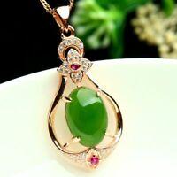 925 Sterling Silber Halskette mit ovalem Anhänger aus grüner Jade Damen Schmuck.
