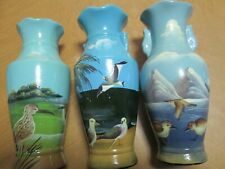 "Hand Painted Vases - (3) with Beach Scenes - Each 7 1/4"" Tall"