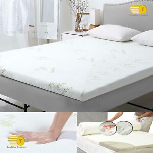"""1"""" Inch New Bamboo Memory Foam Bed Mattress Topper Soft Thick 2.5cm All UK Sizes"""