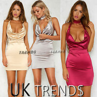 UK Womens Satin Choker Halterneck Cowl Front Mini Wrap Dress Ladies Size6-14