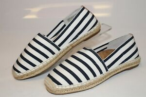 Vionic Valeri Womens 7 38 Striped Fabric Espadrilles Casual Slip Ons Flats Shoes