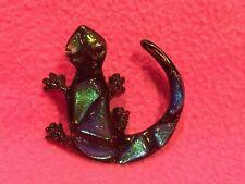 Karen Pester Small Dichroic Glass Gecko Lizard - Signed