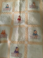 VTG Hand Stitched Embroidered Quilt Blanket Humpty Dumpty On The Wall HTF OOAK