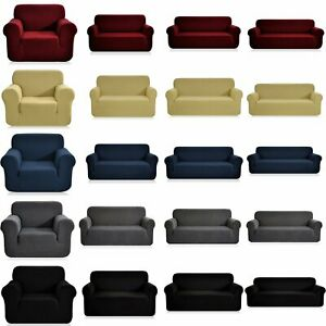 1-4 Seaters Jacquard Sofa Slipcovers Stretch Couch Loveseat Chair Covers Decor