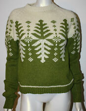 FREE PEOPLE Sweater M Green Ivory Nordic Tree Shetland Wool LS Anthropologie