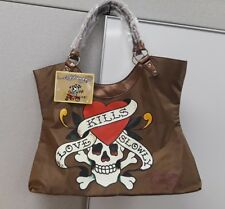 "Ed Hardy Large ""Love Kills Slowly"" Vinyl Tote Bag Brown"