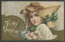 c.1910 WINSCH-TYPE BACK SCHMUCKER? Valentine Postcard YOUNG GIRL HAT FLOWERS