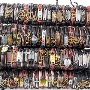 Wholesale 50pcs/pack Assorted Vintage Alloy leather Cuff Bracelets Jewelry gift