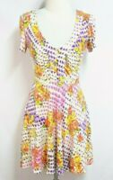 Free People Womens 4 Ivory Purple Floral Stretch Empire Waist Fit N Flare Dress