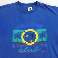 VTG 90s USA Made Duck Head Beach Club T-Shirt sz XL Nicely Faded Blue Vaporwave