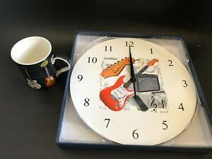 Home Decor Fender  Music  Wall Clock Presentation Box With Guitar Mug Gift Set