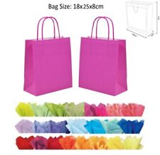 Hot Bright Pink Paper Party Bag - For Wedding Favour Present Gift & Tissue