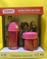 Thermos FUNtainer Lunch Set Bottle & Food Jar for Kids BPA Free (Pink, 2 PC Set)